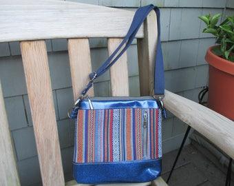 Glitter Vinyl Handbag, Blue Glitter Vinyl Bag, Tapestry Shoulder Bag by DarkHorsesDesigns