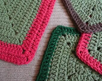 Kitchen Gift Set with Sage, 1 Rectangle Kitchen Towel, 3 Square Washcloths