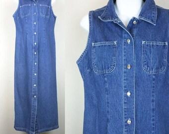 Vintage Dress Dark Blue Denim Midi  Sleeveless Women's S M  Of Jeans Streetwear
