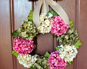 Hydrangea Wreath, Spring Wreath, Grapevine Wreath, Spring Hydrangea Wreath