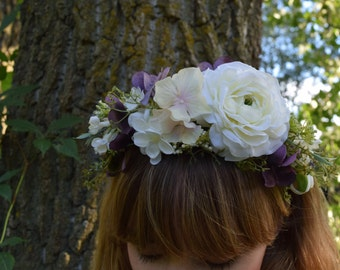 Boho Flower Crown, Bridal Headpiece, Floral Headband, Bridal Headband, Flower Girl Headband, Wedding Tiara, Purple Flower Headband