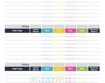 Debt Payment Tracker - EDITABLE - Personal Finance Organizing Printables - INSTANT DOWNLOAD