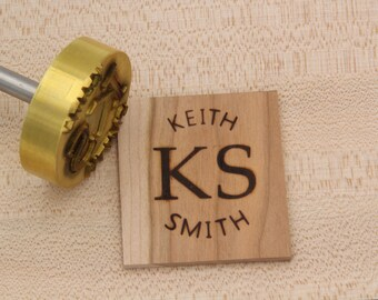 "2"" Round Custom Text w/Initials Branding Iron"