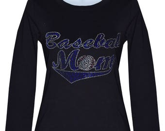 Rhinestone Baseball Mom  Long Sleeve Shirt Top color blacks Size:Small To 3XL.