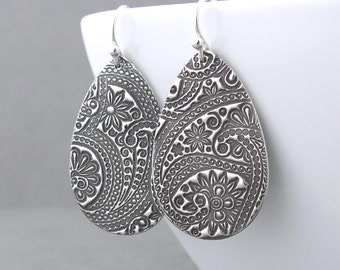 Long Silver Earrings Paisley Earrings Silver Dangle Earrings Unique Silver Jewelry Holiday Jewelry Handmade Gift for Women - Faith