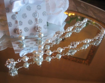 Victorian Style Swarovski Rhinestone and Pearl Bridal Necklace and Earring Set- Bride or Bridesmaid Jewelry Set