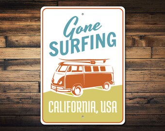 Van Sign, Gone Surfing Sign, Surfer Gift, Beach House Decor, Hippie Van Decor, Custom Surfing Sign, Surf Decor, Quality Aluminum ENS1003271