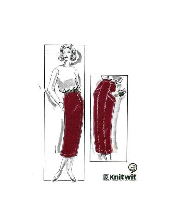 90s Knitwit 202 Straight Skirts with Pleat, Panel and Welt Trim ...