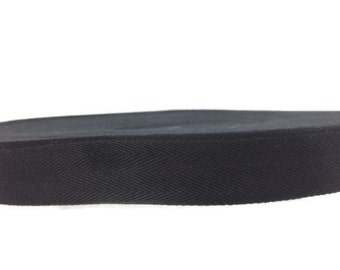 1 inch Cotton Twill Tape 3 yards  Wholesale Herringbone Straps Binding Black
