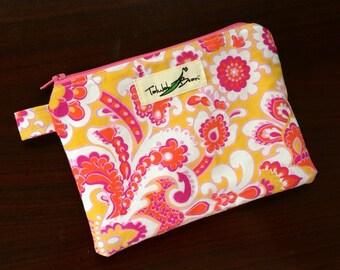 "7""x5"" Tab-Handled Wetbag ~ Papaya Garden Cotton with PUL Lining ~ by Talulah Bean"