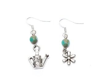 Gardening Earrings | Asymmetrical Earrings | Garden Earrings | Flower Earrings | Watering Can Earrings