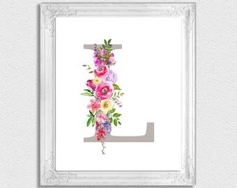 Letter L Monogram, Floral Monogram, Nursery Monogram, Printable Monogram Letters, Initial Print, Letter L, Nursery Letters, Alphabet Letters