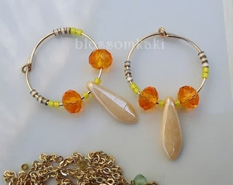 Miyuki beads and Gold - filled 20 mm hoop earrings