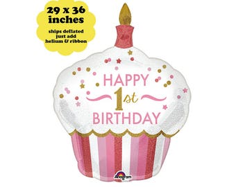 "1st Birthday Balloon Cupcake - 29"" Pink Girls First Birthday Decorations Large Foil Birthday Balloon Photo Prop Pink Gold Cupcake Balloon"