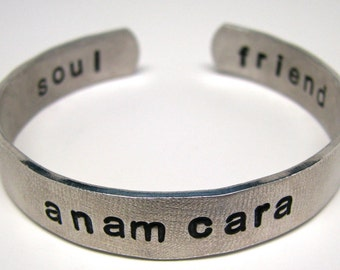 Hand Stamped Bracelet, Personalized Jewelry, Anam Cara