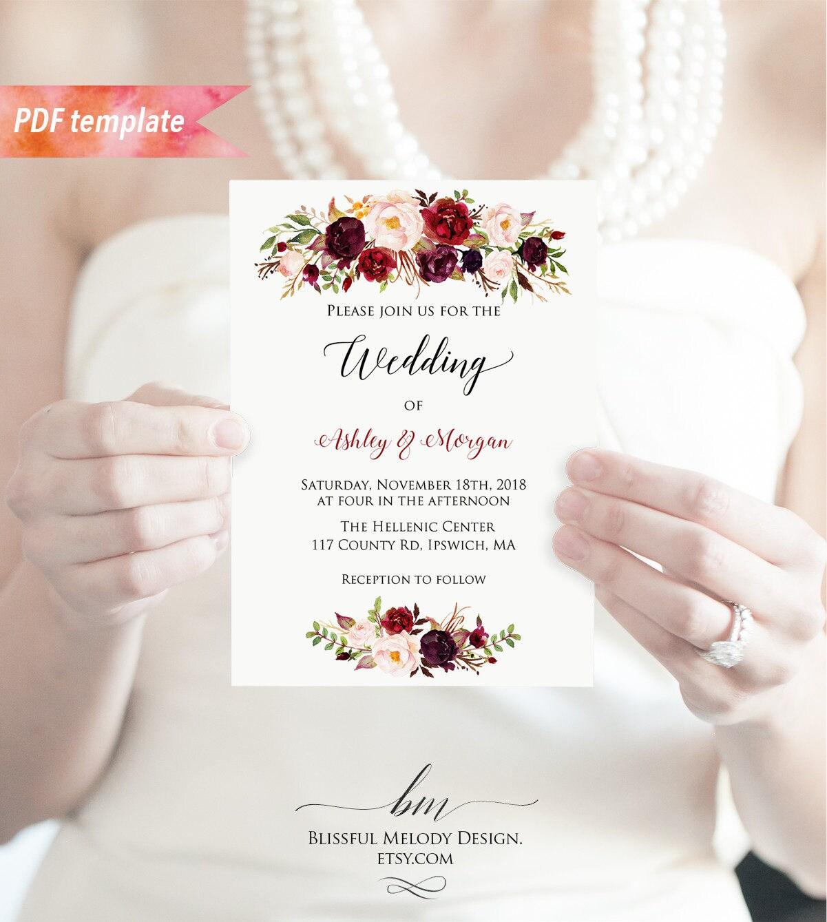 Printable burgundy floral wedding invitation pdf template zoom monicamarmolfo Gallery