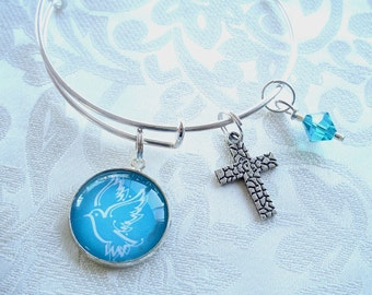 Teal Dove Expandable and Stackable Charm Bracelet with Blue Zircon Swarovski Crystal and Cross Charm