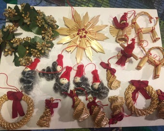 Lot #2 WOVEN WHEAT Tree Ornaments 19 Pieces
