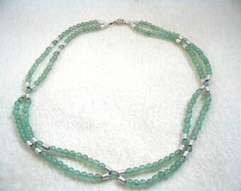 Natural Aventurine Seafoam Green Necklace, Handmade Double Strand Stone Bead Necklace, Sea Foam Green Gemstone Jewelry, Beaded Necklace