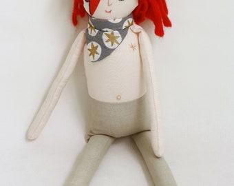 David Bowie tribute handgemaakte rag doll