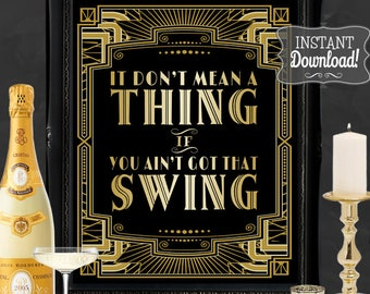 Swing Gatsby Party Poster - INSTANT DOWNLOAD - Printable Dance Wedding, Birthday, New Years Eve Party Art Deco 1920s Sign - Sassaby  Posters