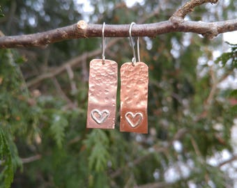 Copper dangles with silver hearts