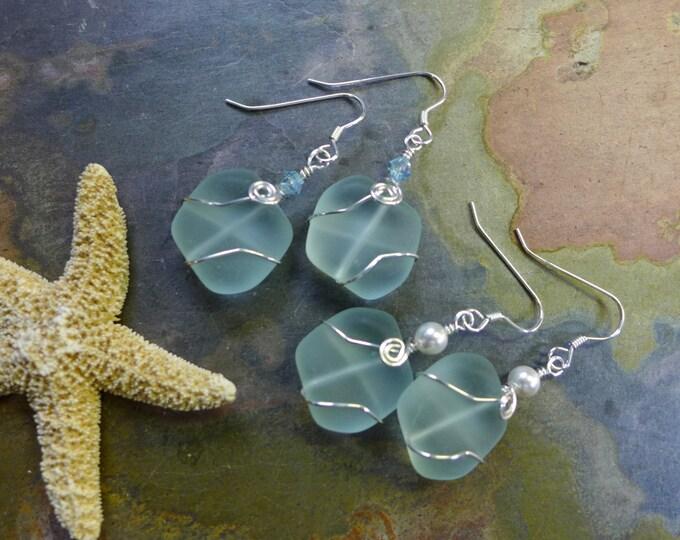 Seafoam Green Sea Glass Silver Earrings-Green  Recycled Glass Earrings in Sterling silver Earwires,, Beach Weddings, Sea Glass  earrings