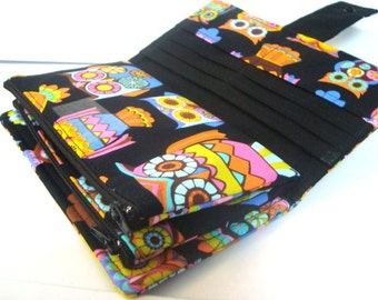 BiFold Long Wallet Cash Envelope Wallet for Dave Ramsey Budget System  Retro  Peace Owl Sugar Skull