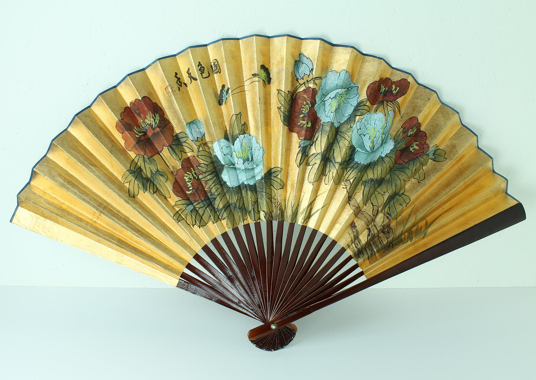 Vintage Paper Fan 1950s Chinese hand-painted fan gold