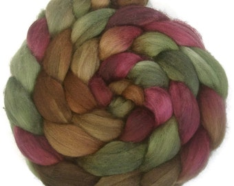 Handpainted Superwash BFL Nylon 80/20 Sock Roving - 4 oz. CIDER HOUSE - Spinning Fiber