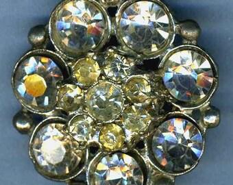 Vintage Glitzy Rhinestone 'A' Button