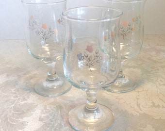 Vintage Pfaltzgraff Remembrance Pattern White Wine Glasses / Vintage Libbey Stemware