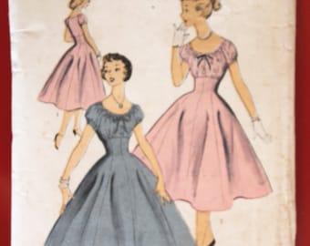 Vintage 1950s Pattern Advance 6783 Teenage Princess Party Dress Bust 28