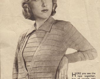 1930s LADY'S CARDIGAN and Jumper set, 35 - 36 inch, vintage knitting pattern, 3 ply, PDF immediate download