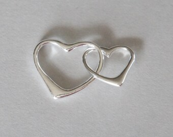 Sterling Silver, Double Heart, Heart Link, Heart Connector, Heart Charm, Heart Pendant, Mother Child, Fast Shipping from USA