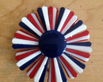 Vintage Brooch/Pin Red White Blue