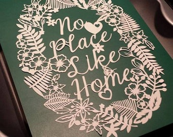 No place like home floral frame papercut template - personal and commercial use