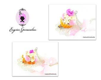 Pink cupcake Bobby or raspberry profiteroles cake necklaces