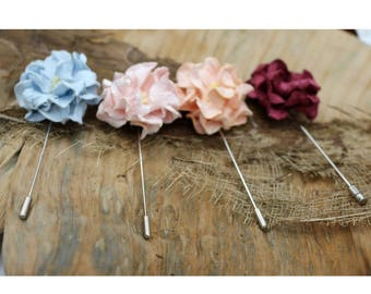 Blue Pink Maroon Mulberry Paper Flower Lapel Pins,Handmade Wedding Boutonniere,Men Lapel pins (FL 306)