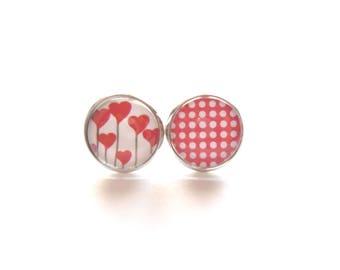 Asymetric Earrings, Stud Earrings, Heart Earrings, Polka Dot Earrings, Red Stud Earrings, Hypoallergenic Earrings, Stainless Steal Earrings
