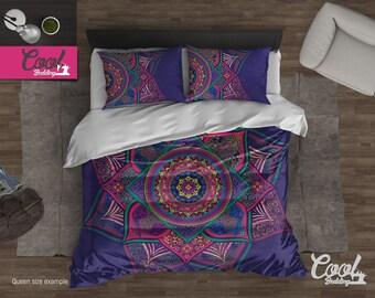 Indie Mandala Duvet Cover, Bohemian Bedding Set, Sacred Mandala Duvet Cover Set, Boho Comforter Set, Purple Mandala Bedding 117