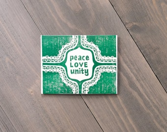 Peace love and unity, Block printed by hand, Multicolor prints with envelopes