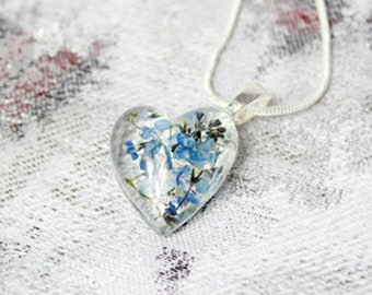 forget me not flower heart jewelry blue natural flowers necklace valentines jewelry trends terrarium jewelry for wife blue jewelry  Рю142