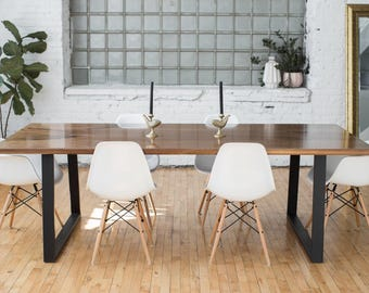 Modern Industrial Black Walnut Dining Table |  Scandinavian Style Home | Contemporary Dining Room