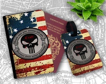 USA Flag Seal Team Sniper Punisher Skull Logo Travelers Passport Cover And Luggage Tag