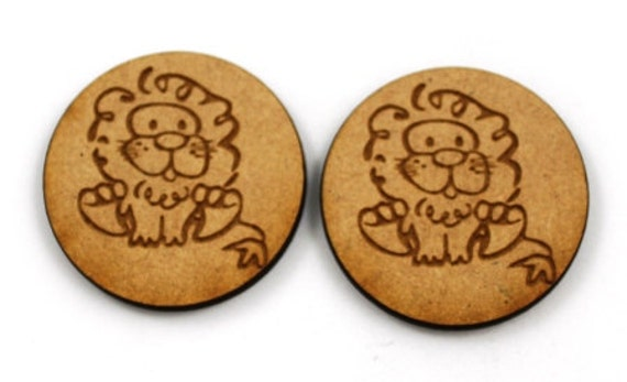Lasercut Craft Wood Little Lion discs– Set of 2. 40 mm Wide Little Lion discs. Made of Craft Wood Perfect for Embellishing, Wood Crafts