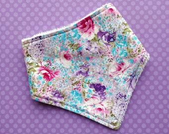 Cotton or bamboo Bandana dribble bib (choose backing fabric) - purple floral