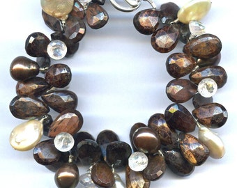 Red Tiger Eye And Pearl Bracelet FD560