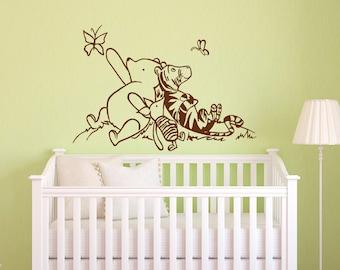 Winnie The Pooh Wall Decals Nursery- Classic Winnie The Pooh Piglet Tigger Wall Decal Kids Baby Room Nursery Pooh Bear Home Decor 026