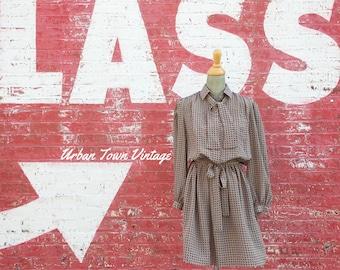 Vintage Taupe Paisley Print Librarian Dress (Size Medium/Large)